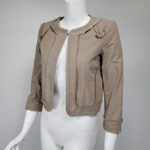 Elizabeth & James Khaki Cotton Cropped Jacket